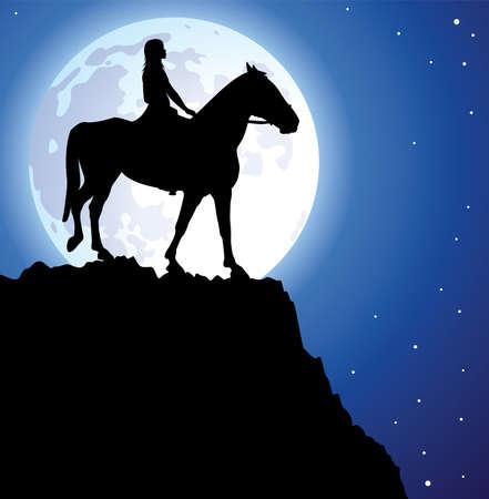 femme a cheval: illustration d'une fille sur le cheval au sommet de la montagne et une lune Illustration