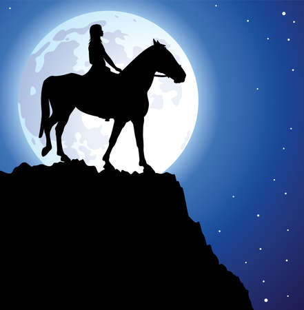 woman and horse: illustration of a girl on the horse on top of the mountain and a moon