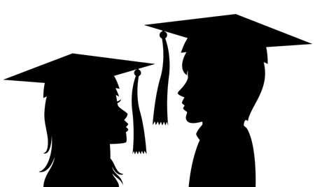 birrete de graduacion: silueta del hombre y una mujer jóvenes graduados Vectores