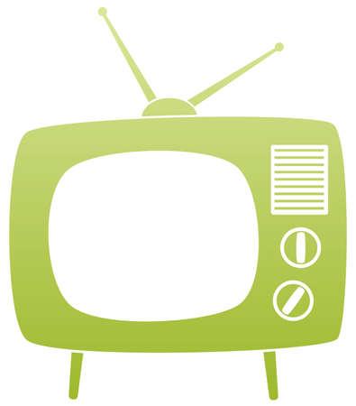 антенны: Символ зеленой ретро-телевизор Иллюстрация