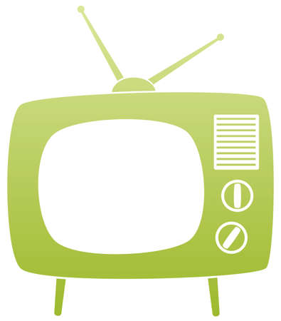 screen tv: symbol of green retro tv set Illustration