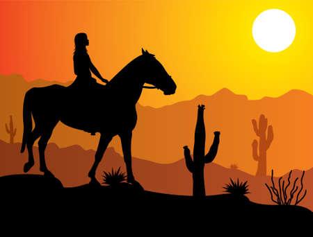 vrouw op het paard in de woestijn bij zonsopgang of zonsondergang Vector Illustratie