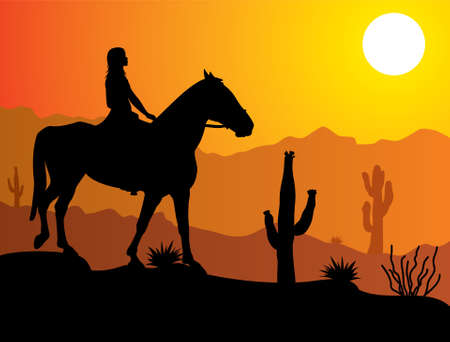 desert sunset: woman on the horse in desert at sunrise or sunset