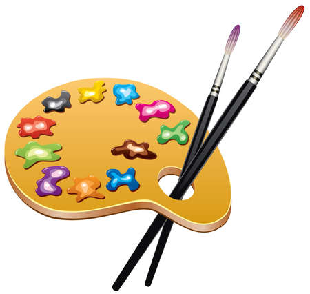art palette: wooden art palette with blobs of paint and brushes