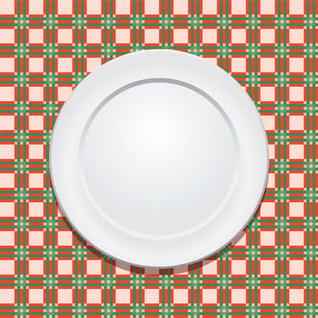 picnic tablecloth and empty plate Stock Vector - 10190656