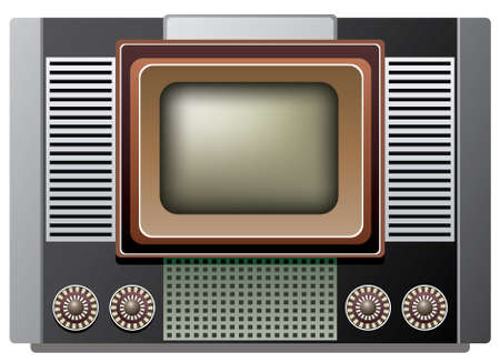 illustration of big retro tv set Stock Vector - 10190652