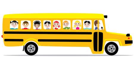 cartoon school girl:  autob�s escolar y los ni�os
