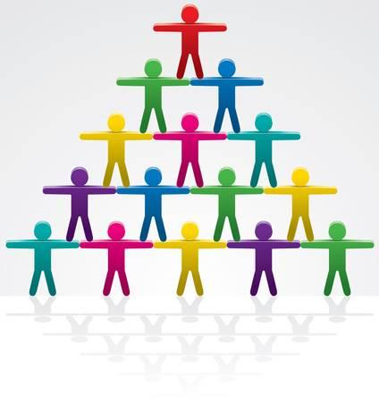 piramide humana:  Ilustración del trabajo en equipo Vectores