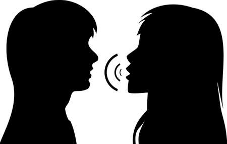 black lady talking: silhouettes of two young women. One is talking to the other. Illustration