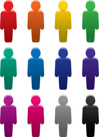 mucha gente: conjunto de s�mbolos coloridos de personas Vectores