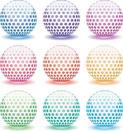 red sphere: set of 3d shiny globes of different colors Illustration