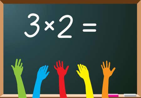 emelt: Illusztráció az általános iskolai tanulók emelése kezét
