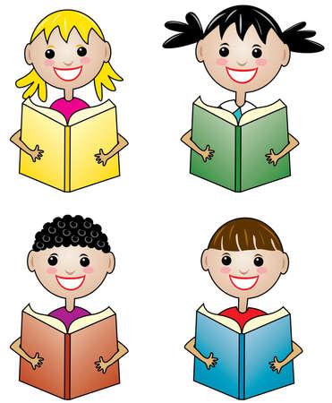 Conjunto de niños con libros Ilustración de vector