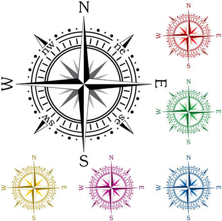 south east: Set of colorful compasses