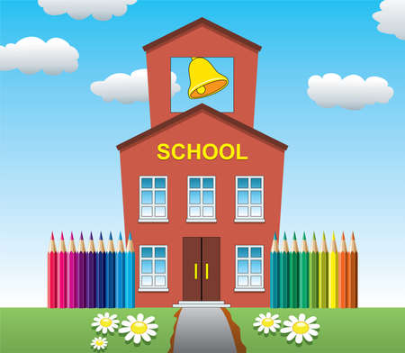 case colorate: Illustrazione della scuola di casa