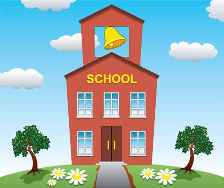 old school: Illustration of school house  Illustration