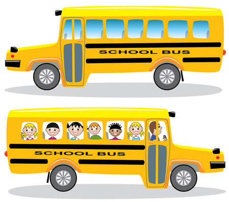 cartoon bus: School buses with children and empty