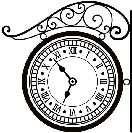 retro street clock Vector