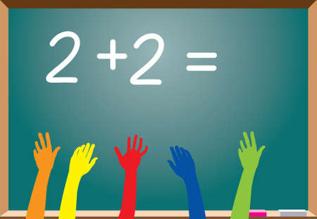 arithmetic: elementary school students raising hands