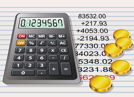 balance sheet: calculator, golden coins and a sheet of paper with calculation