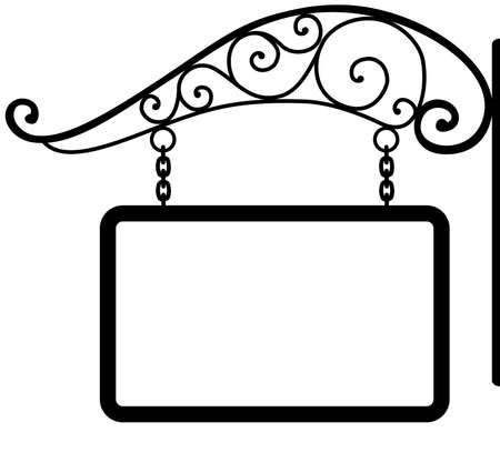 hanging sign: signboard and retro metal decoration