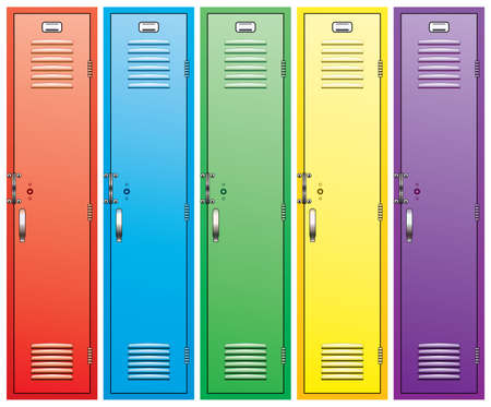 set of colorful school lockers Vector