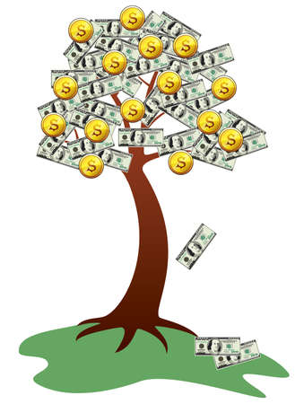 falling money: money tree with fruits and leaves