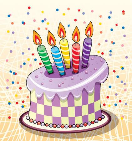 pasteles de cumplea�os: pastel de cumplea�os con velas y confeti Vectores