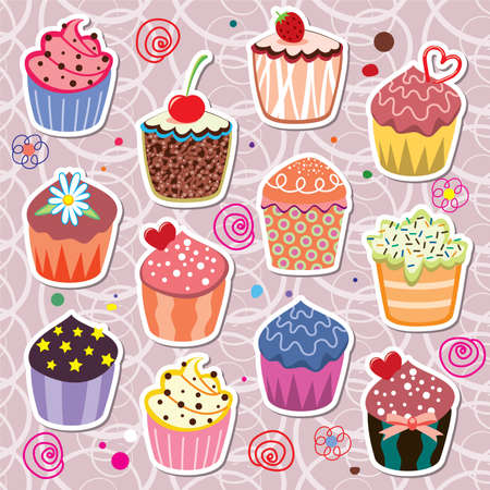 set of colorful cupcakes Vector