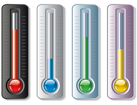 hot temperature: set of thermometers  Illustration
