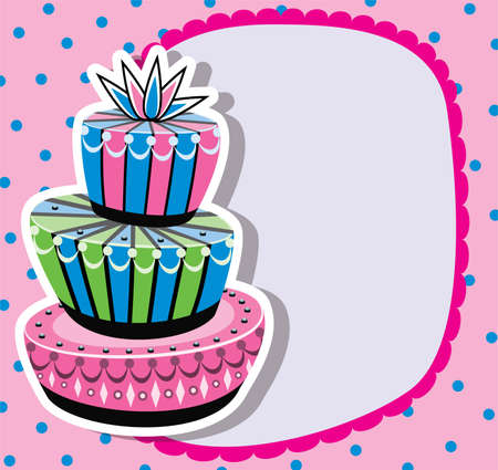 cake paper: Card with birthday cake and copy-space