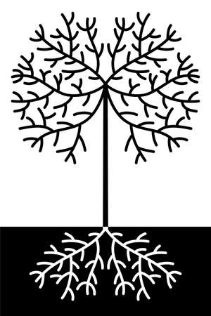 Design of abstract black and white tree Vector