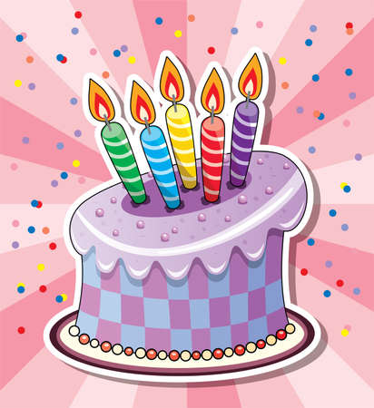 Birthday cake with candles and confetti Vector