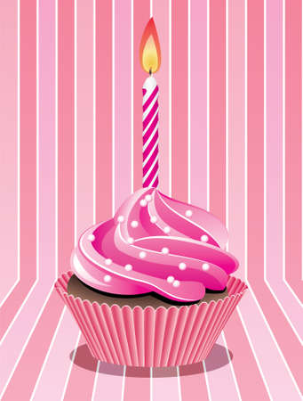 Cupcake with sprinkles and burning candle on retro background Vector