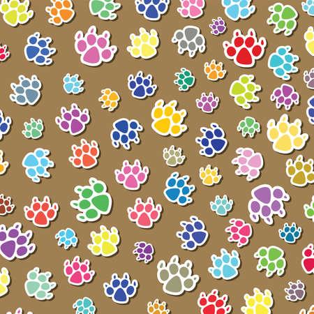 huellas de animales: Fondo de coloridos perro Vectores