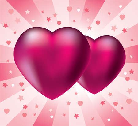 Illustration of two pink hearts on retro background Vector
