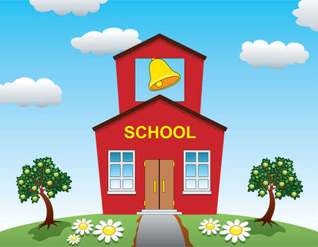 Illustration of country school house and apple trees Vector
