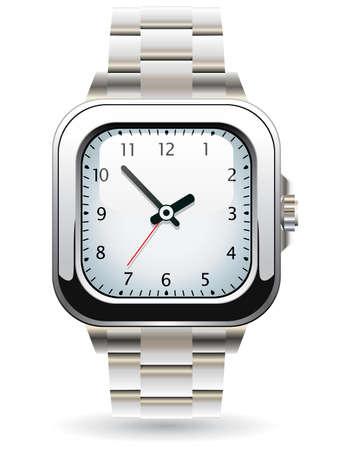Design of silver wristwatch Vector