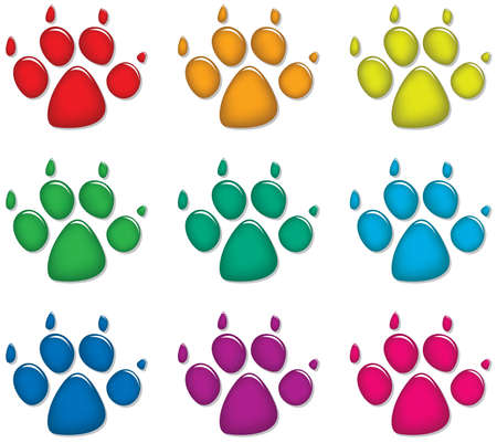 animals shadow: vector set of colorful dogs foot prints  Illustration