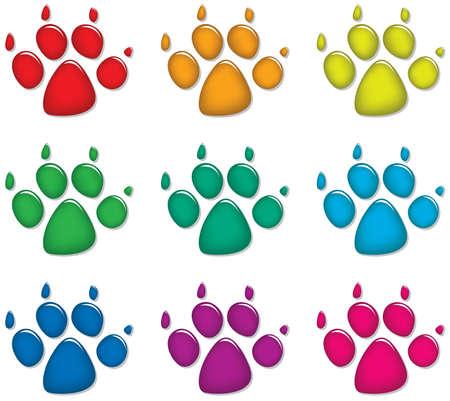 Vektor-Set mit bunten Hund die Fußspuren Vektorgrafik