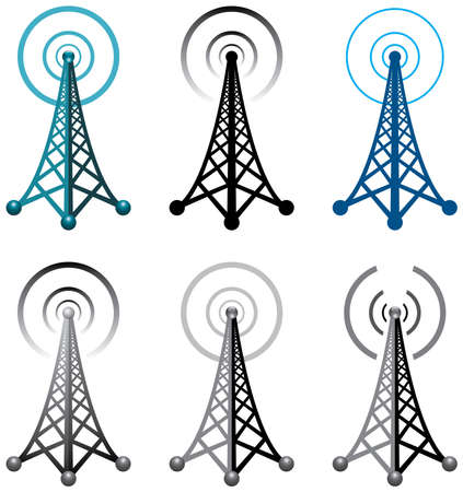 broadcasting: Dise�o de la radio s�mbolos torre Vectores