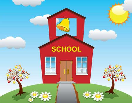 Illustration des Landes Schulhaus und Apfelbäume