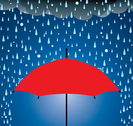 rainy season: Illustration of umbrella protection from rain and hail