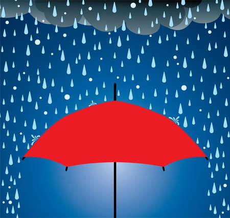 Ilustración de la protección del paraguas de la lluvia y granizo