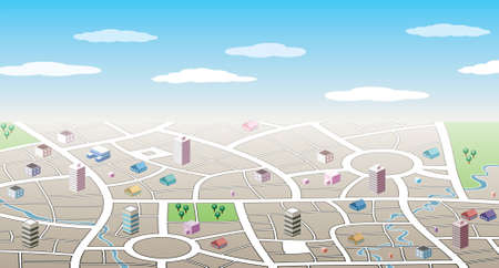 street view: design of 3d city map Illustration