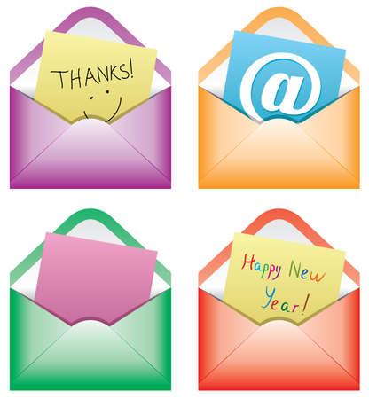 note de service: conception des notes de papier dans des enveloppes