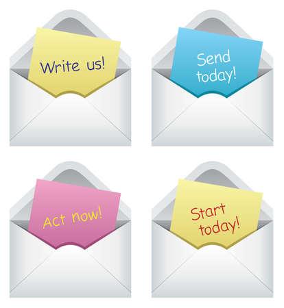 letter envelopes: design of paper notes in envelopes