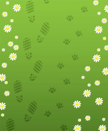 animal tracks: foot prints of man and dog Illustration