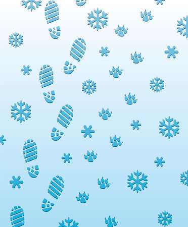 foot prints of man and dog on the snow Vector