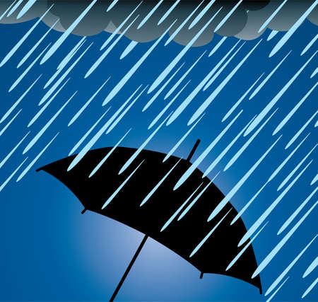 umbrella rain: illustration of umbrella protection from heavy rain Illustration